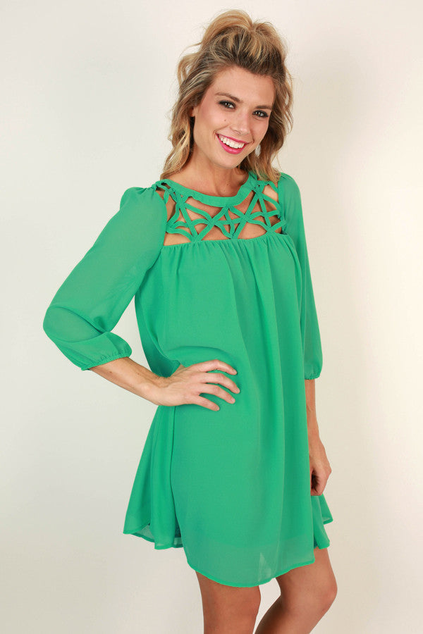 Romance & Roses Shift Dress in Emerald