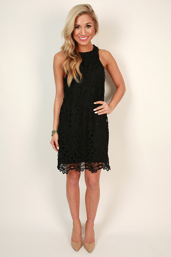 Countless Compliments Crochet Shift Dress in Black