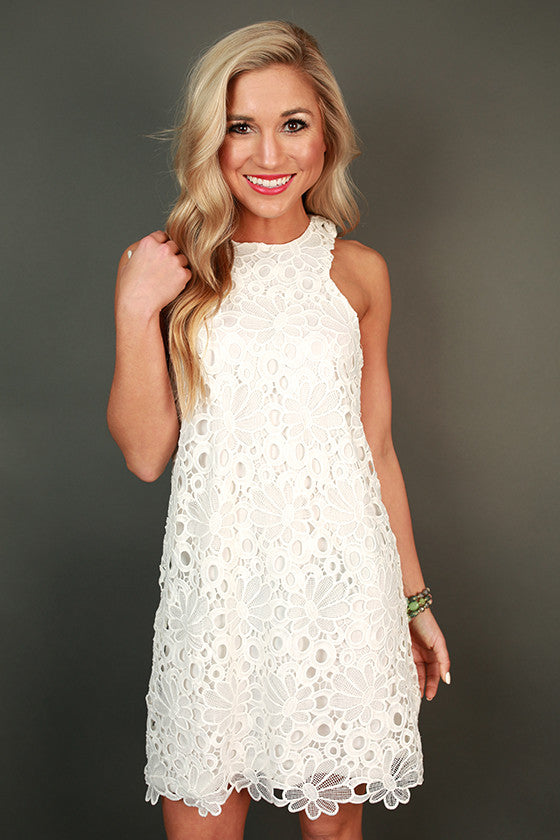 Countless Compliments Crochet Shift Dress in White