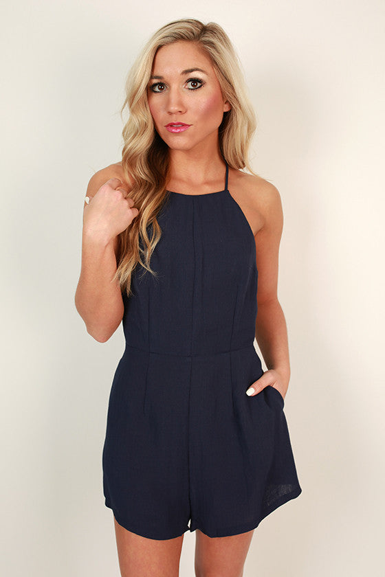 Bows & Kisses Romper in Navy