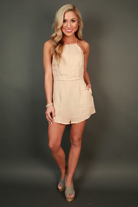 Bows & Kisses Romper in Iced Coffee