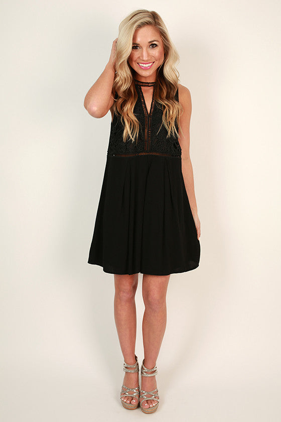 Sweet Whispers Shift Dress in Black