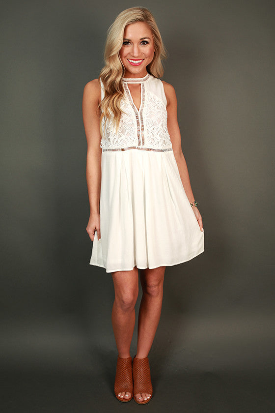 Sweet Whispers Shift Dress in White