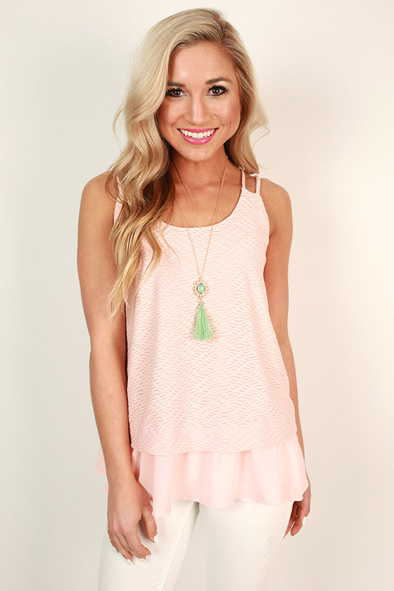 Beachside Breeze Ruffle Tank in Rose Quartz