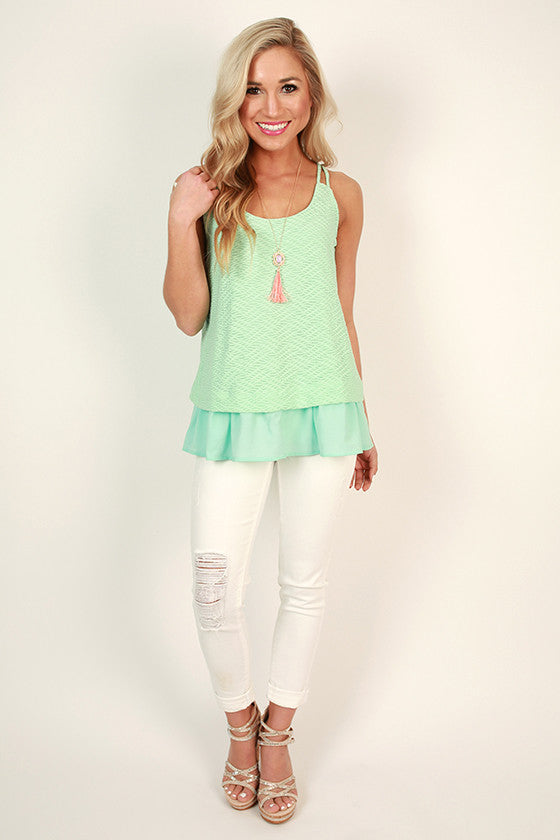 Beachside Breeze Ruffle Tank in Mint