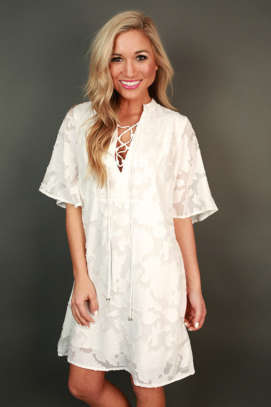 Picture Perfect Lace Up Shift Dress
