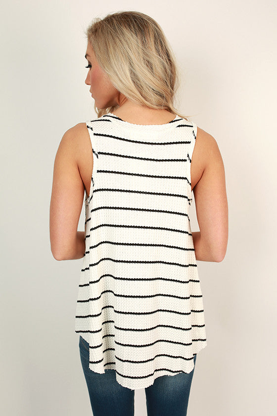 Poolside Pretty Stripe Tank in Black