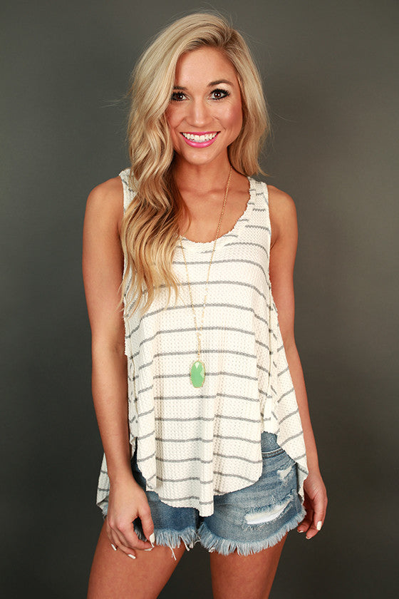 Poolside Pretty Stripe Tank in Grey