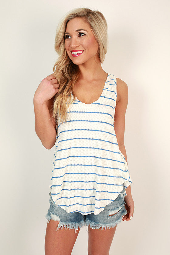 Poolside Pretty Stripe Tank in Blue