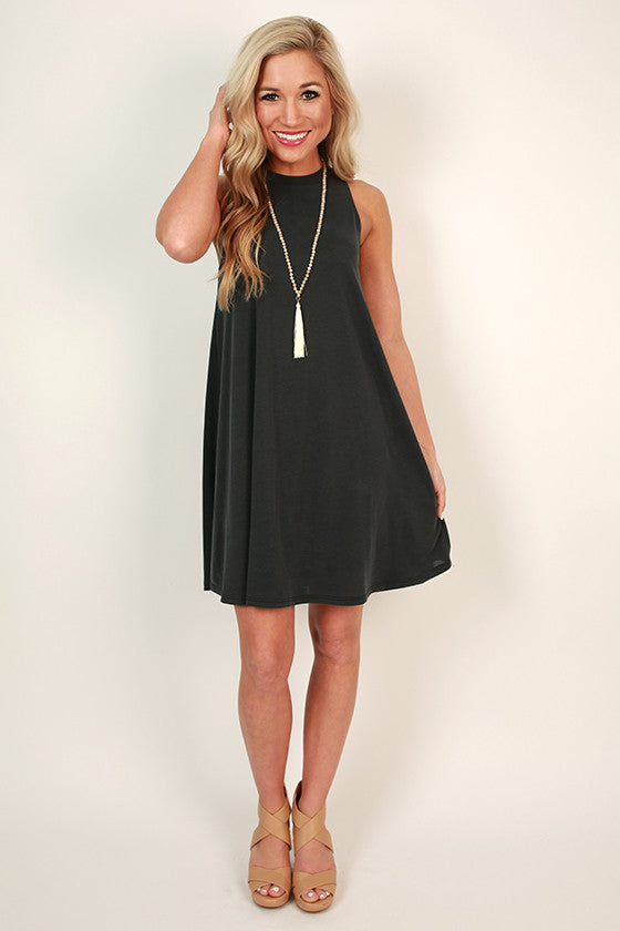 Picnic Pretty Shift Dress in Smoky Black