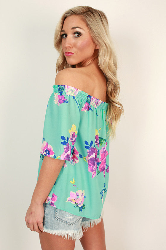 Lotus Love Off Shoulder Floral Top in Ocean Wave