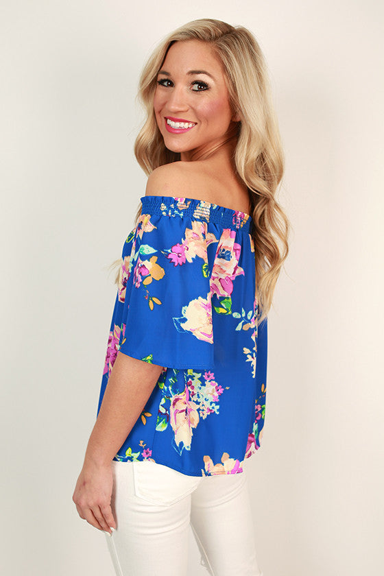 Lotus Love Off Shoulder Floral Top in Royal Blue