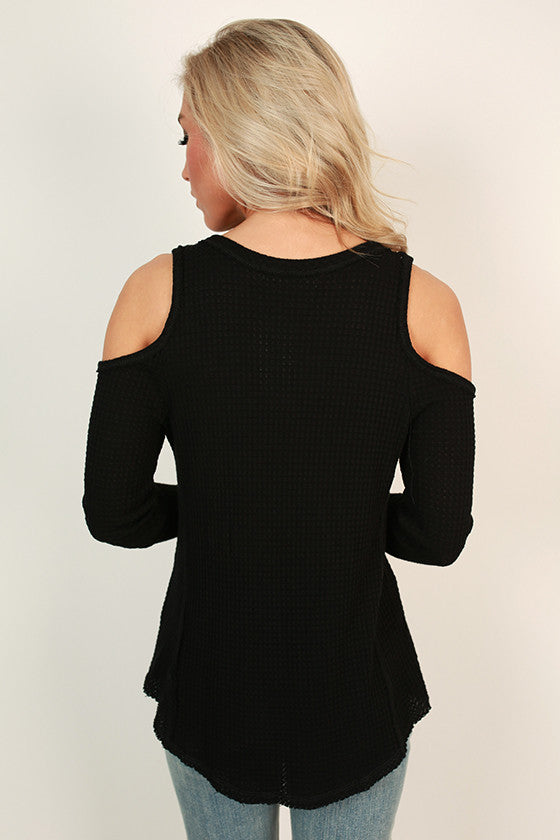 Latte Chit Chat Cold Shoulder Top in Black