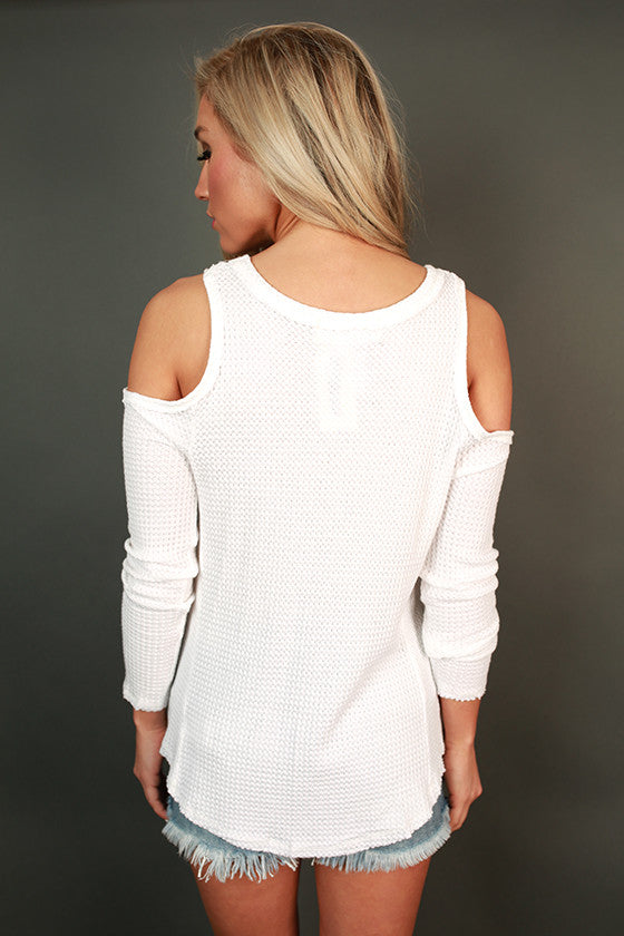 Latte Chit Chat Cold Shoulder Top in White