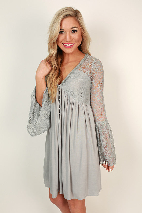 Italian Sunsets Lace Babydoll Dress in Grey