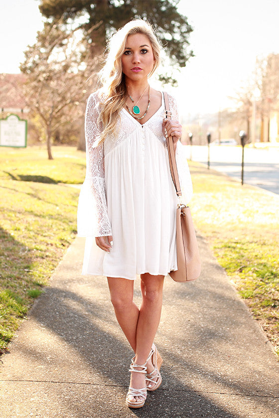 Italian Sunsets Lace Babydoll Dress in White