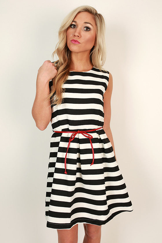 Park Avenue Stripe Fit & Flare Dress