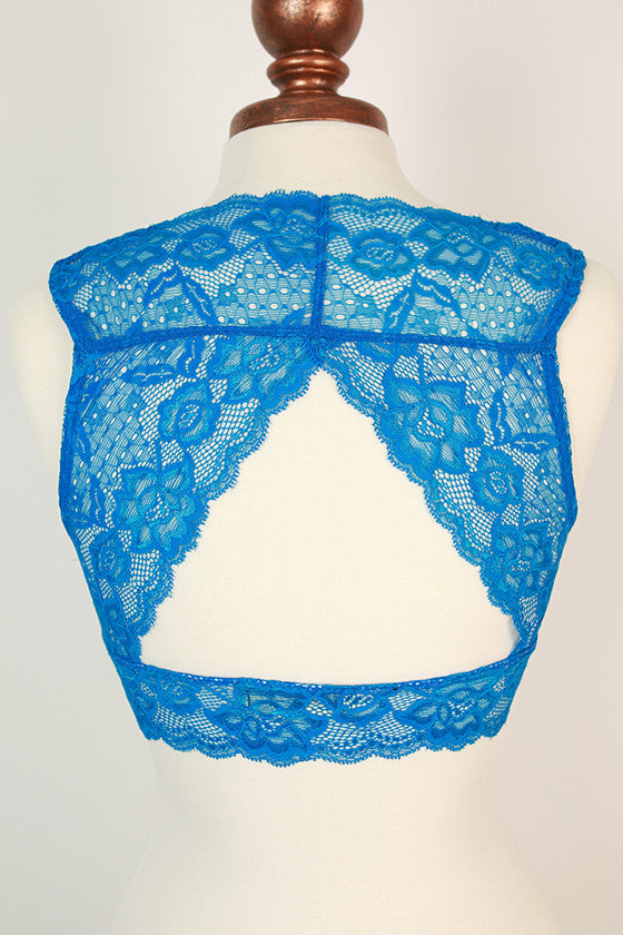 Triangle Back Lace Bralette in Snorkle Blue