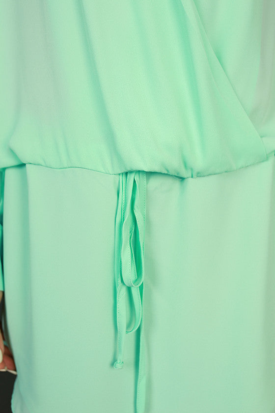 Radiant Darling Tie Waist Dress in Seafoam