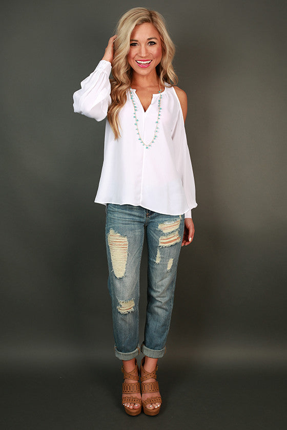 Gardenia Gorgeous Cold Shoulder Top in White