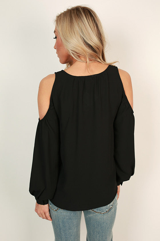 Gardenia Gorgeous Cold Shoulder Top in Black