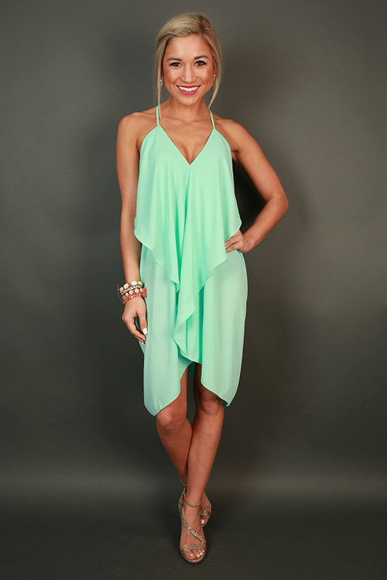 Fashion Week V-Neck Dress in Sea Glass