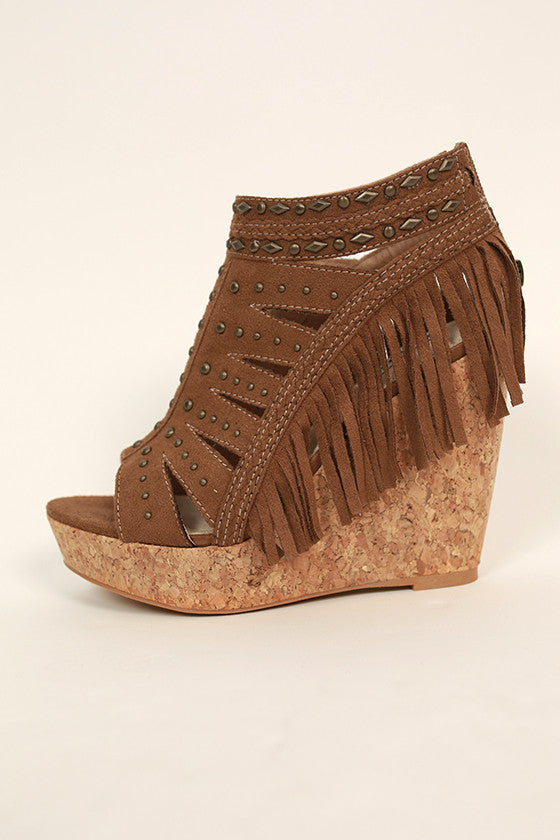 Frolic in Fringe Wedge in Brown