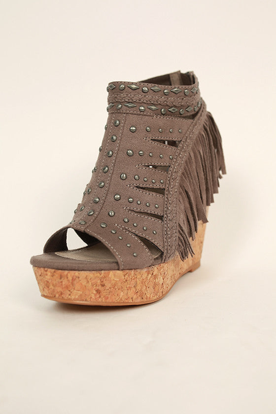 Frolic in Fringe Wedge in Taupe