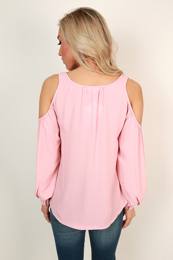 Gardenia Gorgeous Cold Shoulder Top in Rose Quartz