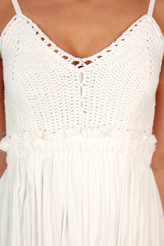 The Grand Reveal Crochet Maxi Dress in White