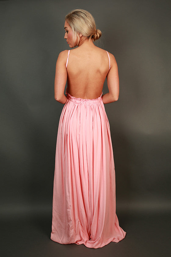 The Grand Reveal Crochet Maxi Dress in Peach Echo