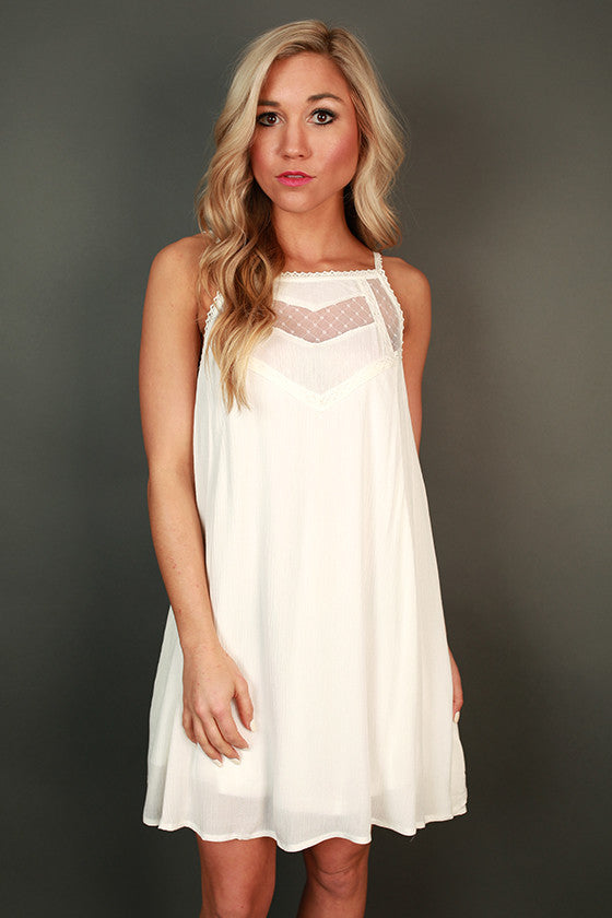 Sunday Sweetness Shift Dress in White