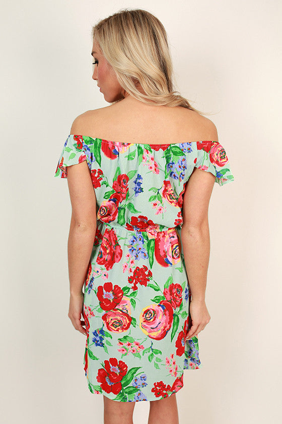 Fond Feelings Off Shoulder Dress in Limpet Shell