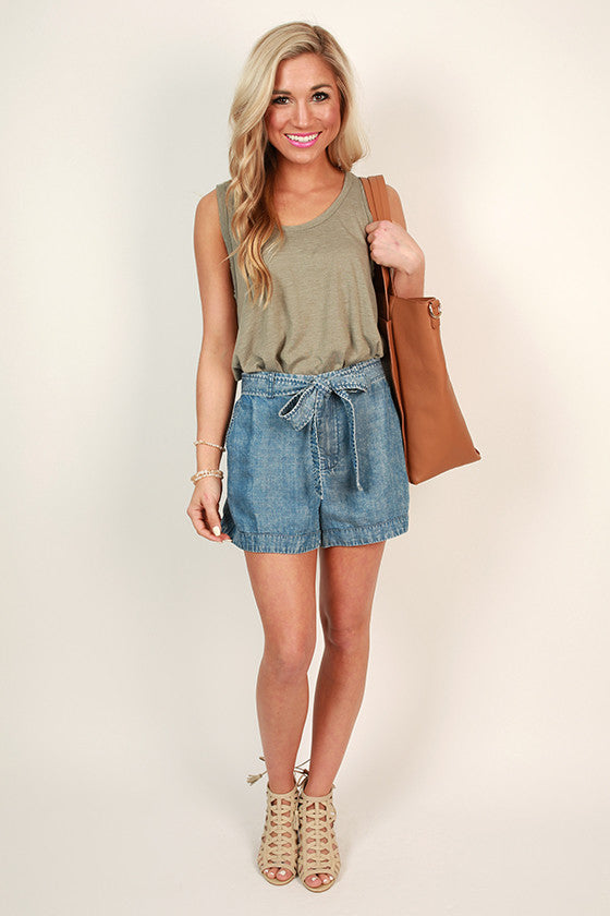 Chic Shopper Chambray Shorts