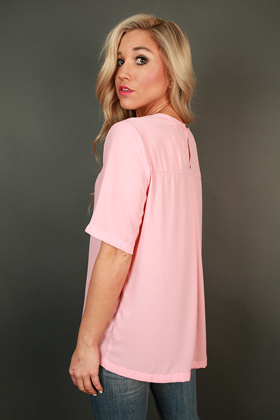 After The Runway Shift Top in Rose Quartz