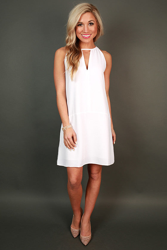 Total Adoration Shift Dress in White