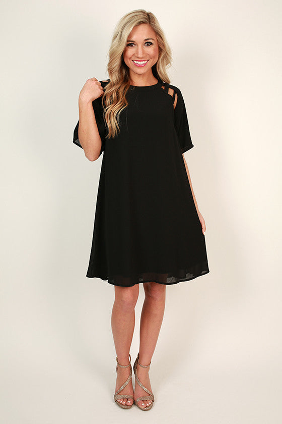 Mimosa Chic Shift Dress in Black