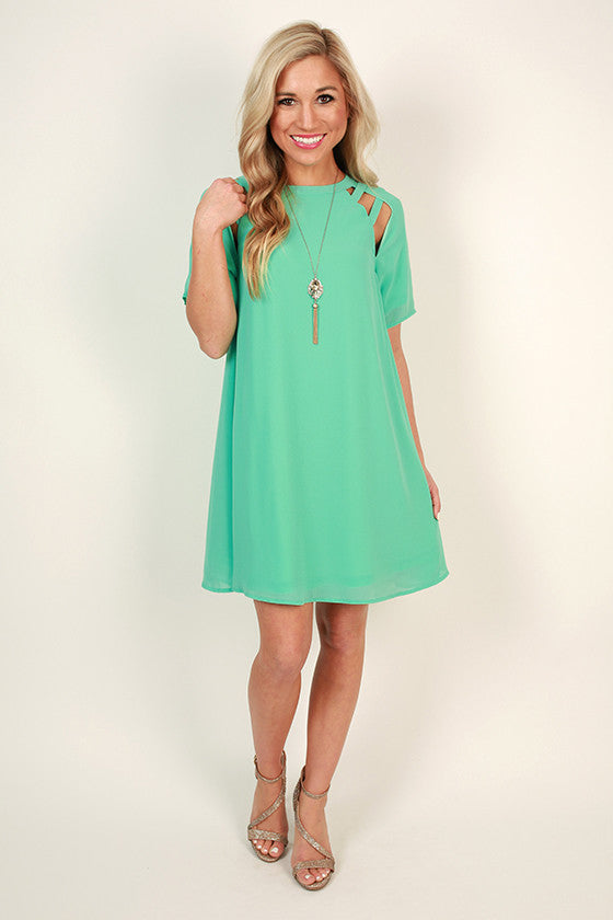 Mimosa Chic Shift Dress in Ocean Wave
