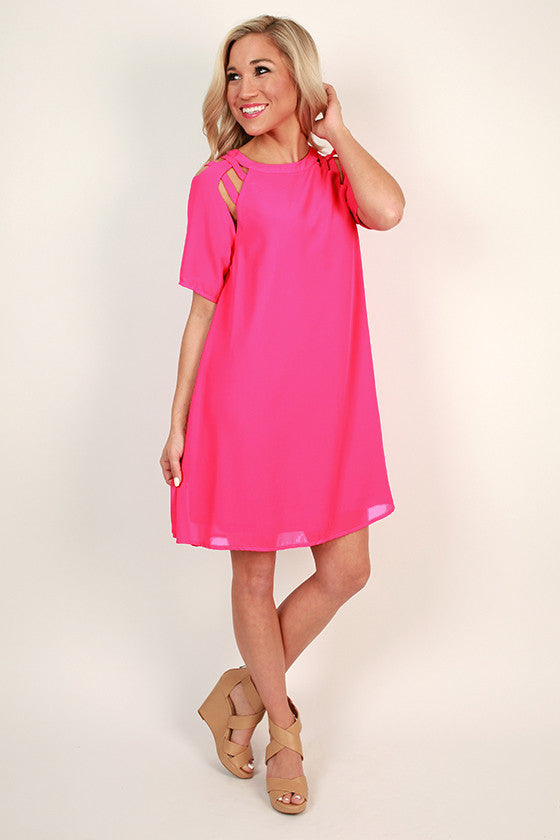 Mimosa Chic Shift Dress in Hot Pink
