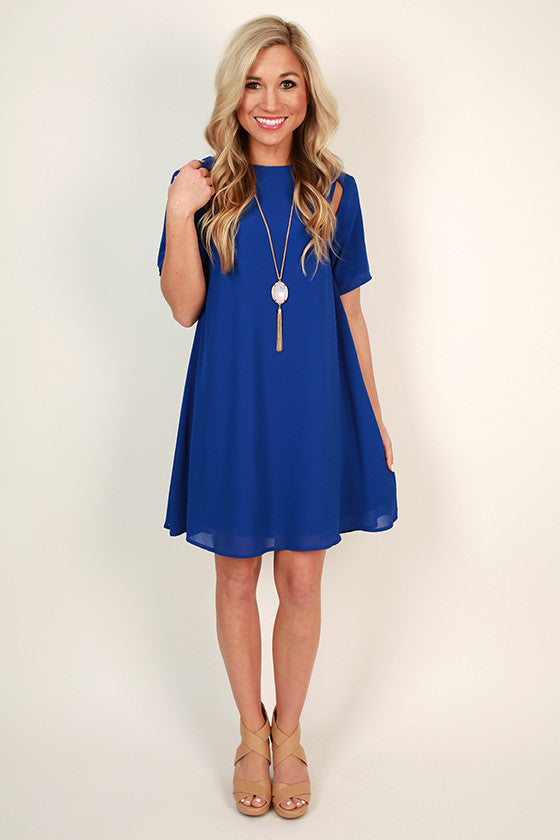 Mimosa Chic Shift Dress in Royal Blue