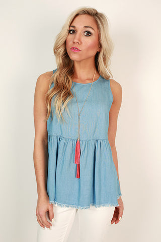 Happy Hour Chambray Frayed Tank
