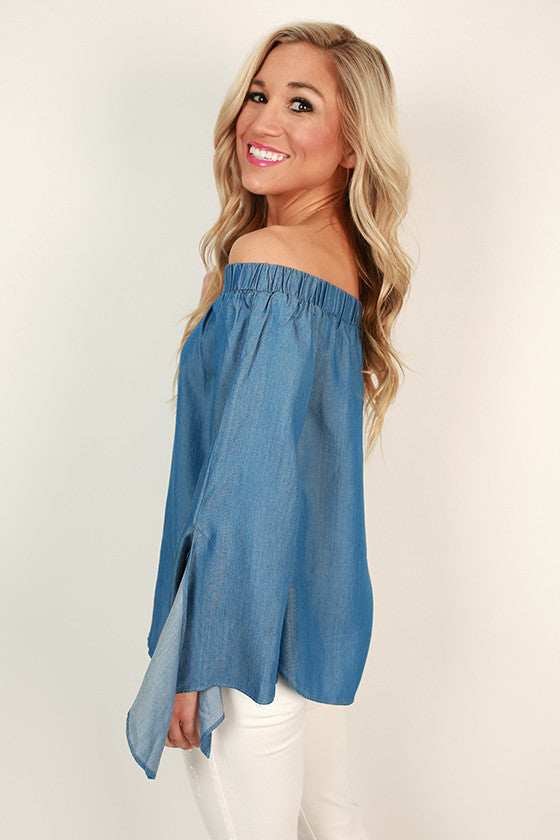 93f0444738920f Chambray Adorable Off Shoulder Top • Impressions Online Boutique