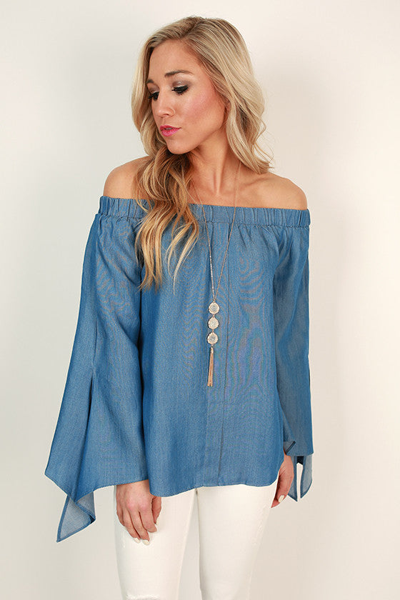 3c42f5ae736d5f Dreams Come True. Loading... Pin it. Chambray Adorable Off Shoulder Top