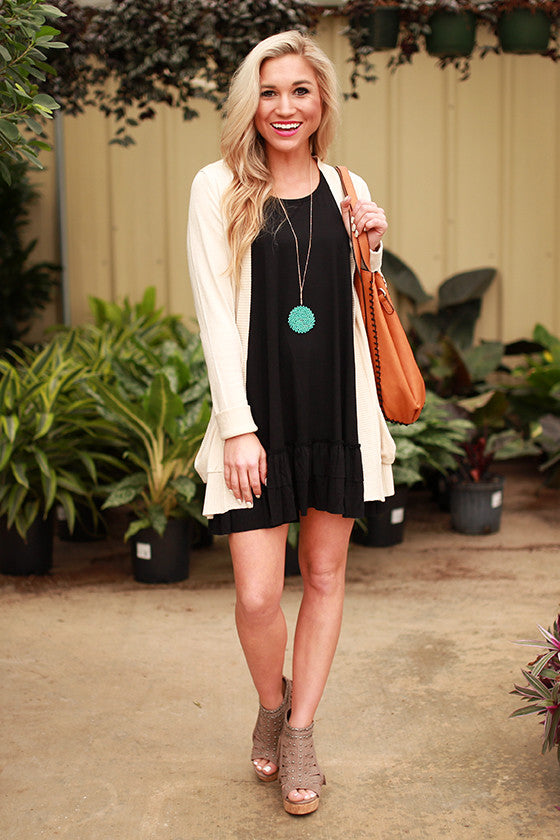 Mimosas & Ruffles Shift Tunic in Black