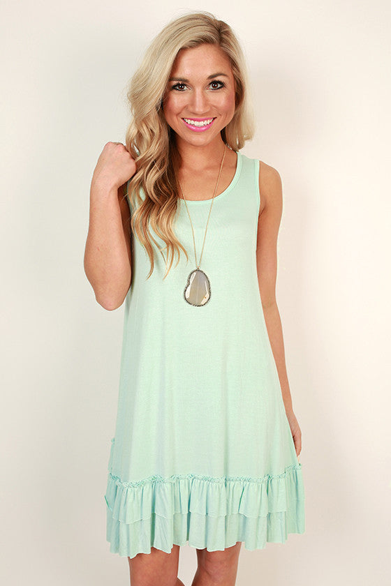 Mimosas & Ruffles Shift Tunic in Mint