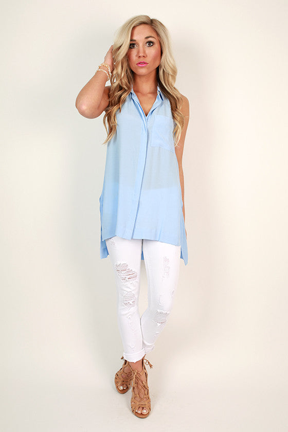 Soho Chic Button Up Tank in Serenity