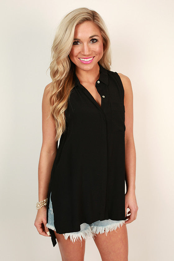 Soho Chic Button Up Tank in Black