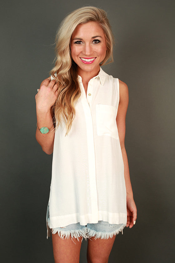 Soho Chic Button Up Tank in White