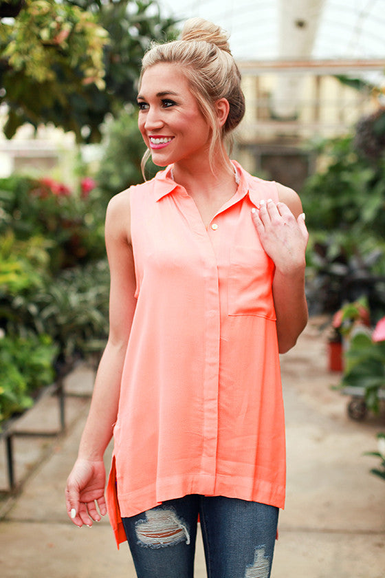 Soho Chic Button Up Tank in Coral