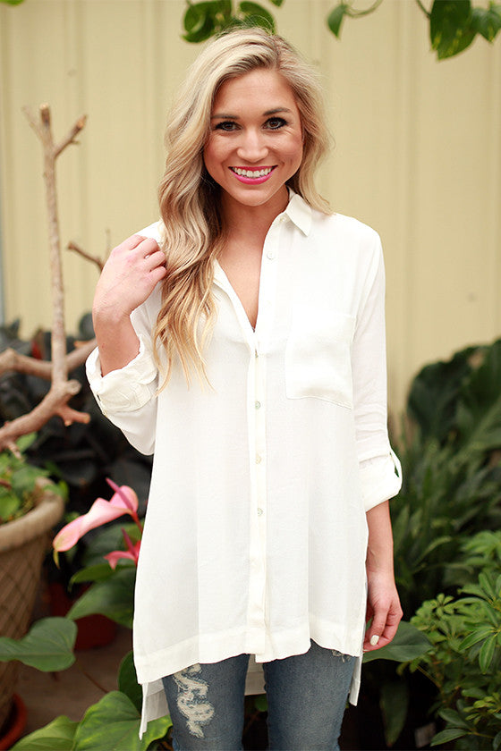 Soho Chic Button Up Top in White